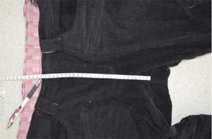 股上 内股の縫い目から前のウエスト上端まで